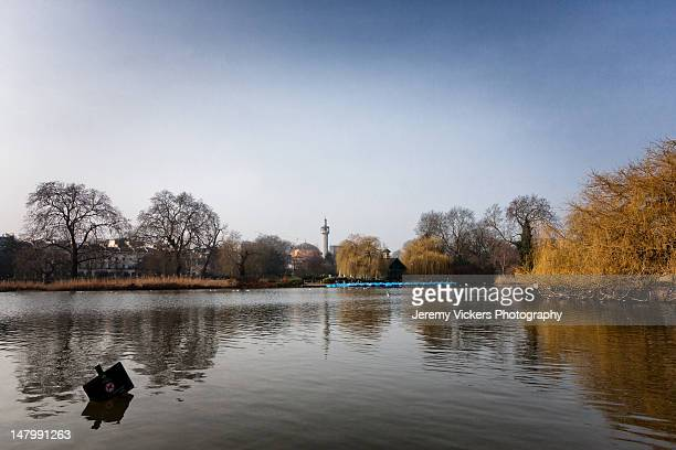 Boating Lake with flooded sign in spring