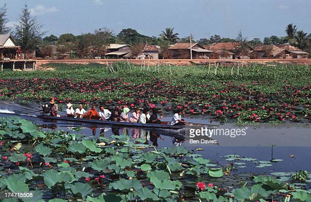 PHATTHALUNG PHATTALUNG THAILAND A boatload of tourists is taken through beautiful Thale Noi WaterBird Park in Phatthalung Province home to 150...