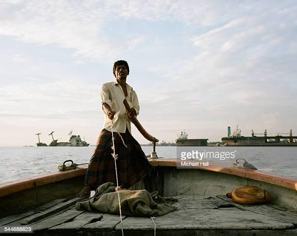 Boatman at ship breaking yards