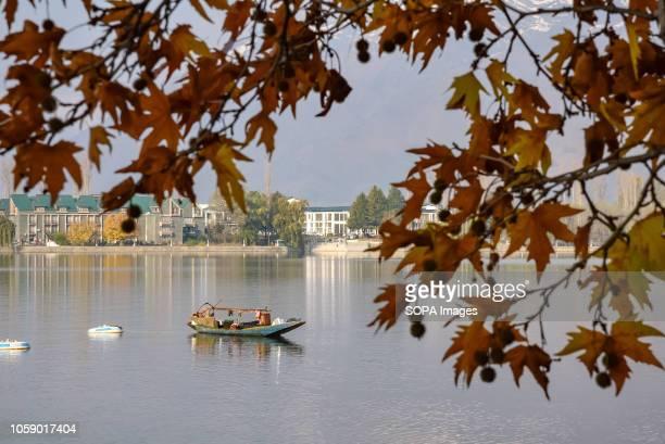 SRINAGAR JAMMU KASHMIR INDIA A boatman seen taking nap on his boat during the autumn season in Srinagar Kashmir has been divided between India and...