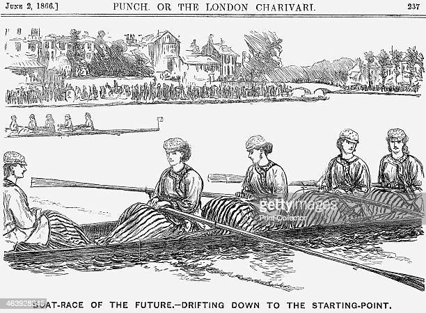 'BoatRace of the Future Drifiting Down to the Starting Point' 1866 Boat race crews entirely made up of determined looking ladies Punch's little dig...