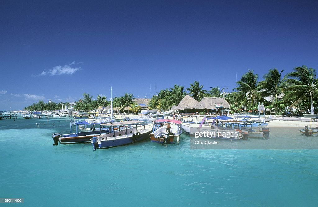 Boats along coast in Yucatan, Mexico : Stock Photo