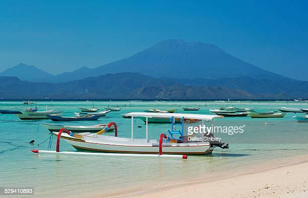 Boats along the coast of Nusa Lembongan, Bali