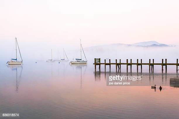 boats, ambleside, lake district, cumbria, england - ambleside stock photos and pictures