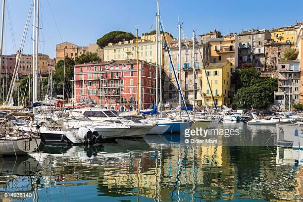 Boats anchored in Bastia harbor in Corsica