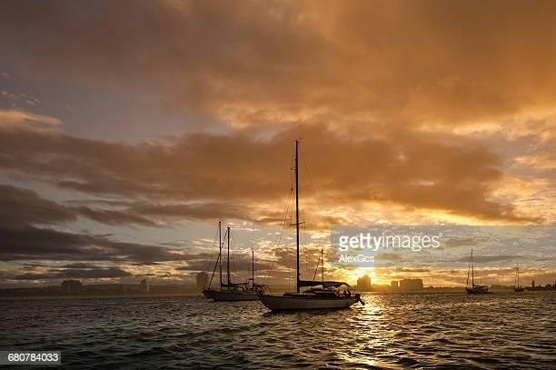 Boats anchored in ocean, Main Beach, Gold Coast, Queensland, Australia