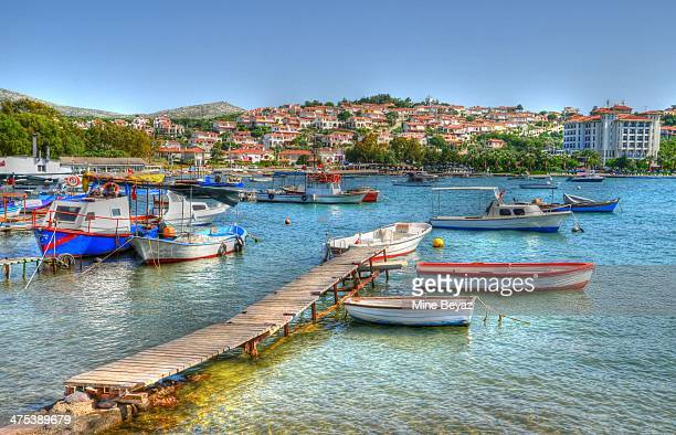 boats and aegean - izmir stock pictures, royalty-free photos & images