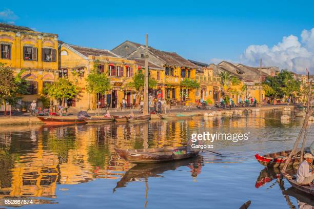 Boats and ancient city of Hoi An, Vietnam
