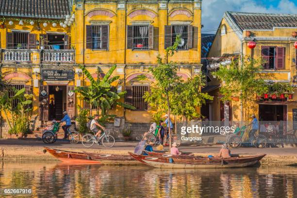 boats and ancient city of hoi an, vietnam - vietnam stock pictures, royalty-free photos & images