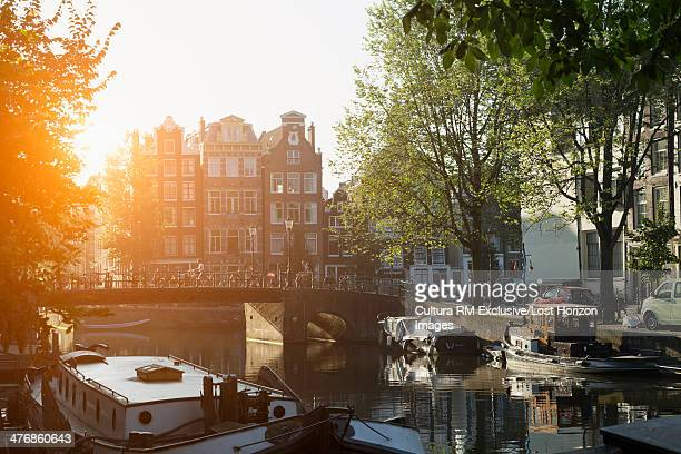 Boats and canal bridge, Amsterdam, Netherlands