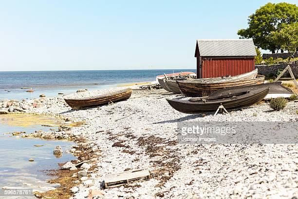 Boats and fishing shed at sea
