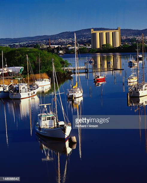Boats and yachts moored on the Tamar River - Launceston