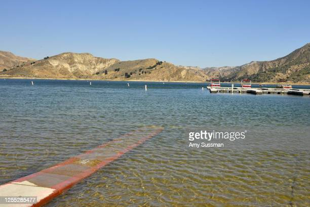 Boats are docked and one is roped off with police tape at Lake Piru where actress Naya Rivera was reported missing Wednesday on July 9 2020 in Piru...
