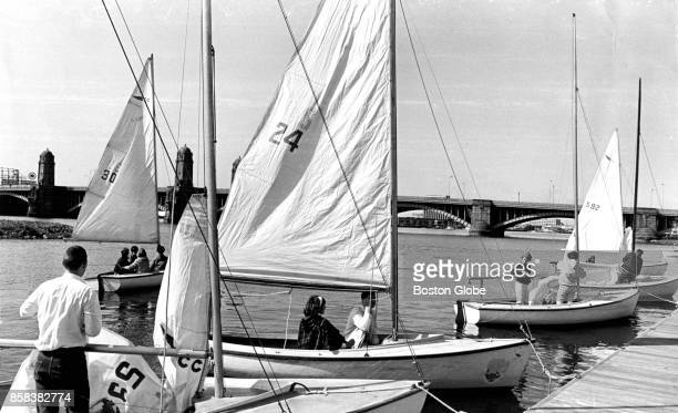 Boats are docked at the Community Boat House on the Charles River in Boston on Apr 19 1966