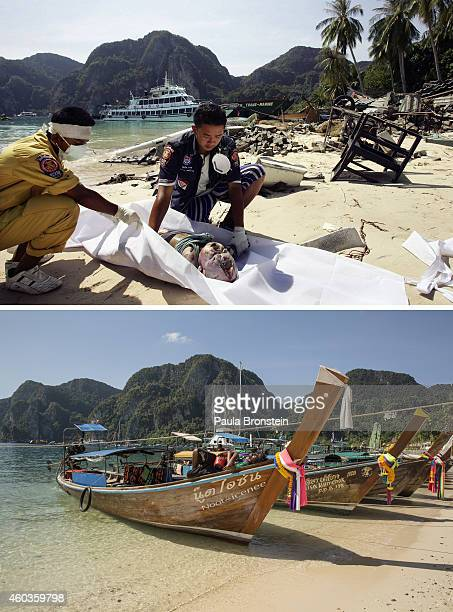 In this composite image a comparison has been made between a scene in 2004 and 2014 Thai rescue workers cover the body of a baby on the beach...