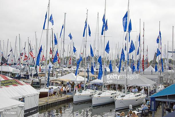 Boats are seen 05 October 2007 in Annapolis Maryland during the 38th Annual United States Sailboat Show 'the world's largest inwater show featuring...