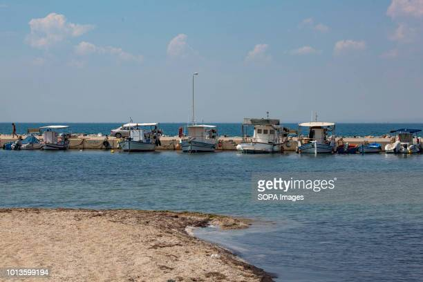 Boats are seen anchored at the sea shore Daily life in Perea a beach town near Thessaloniki just 5 minutes from the airport and 15 from Thessaloniki...