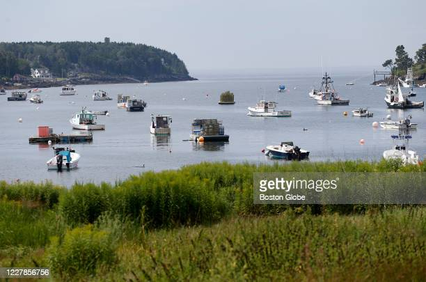 Boats are seen in Casco Bay on Bailey Island on July 28 2020 in Hapswell ME Julie Dimperio Holowach a 63yearold seasonal resident of Harpswell Maine...