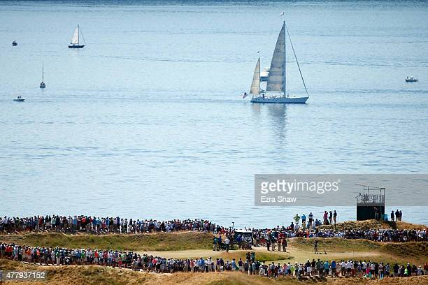 Boats are seen in the Puget Sound during the third round of the 115th US Open Championship at Chambers Bay on June 20 2015 in University Place...
