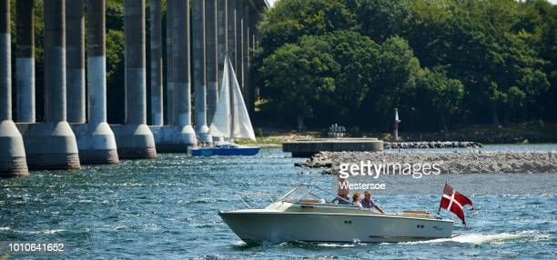 boats arriving at the narrow waters of svendborgsund - funen stock pictures, royalty-free photos & images