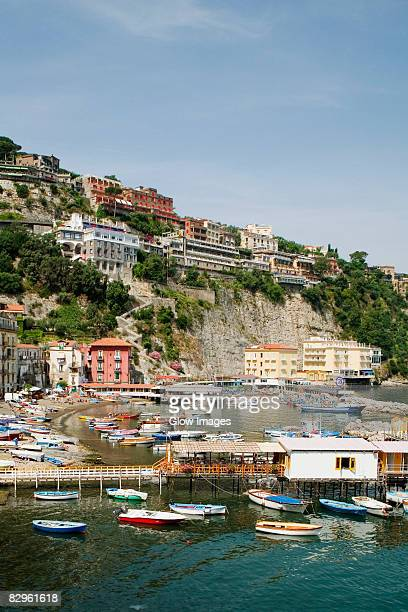 boats at a harbor, marina grande, capri, sorrento, sorrentine peninsula, naples province, campania, italy - sorrento stock pictures, royalty-free photos & images