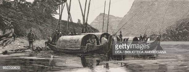 Boats at Keelung recently bombarded by the French Taiwan SinoFrench War illustration from the magazine The Graphic volume XXX no 770 August 30 1884