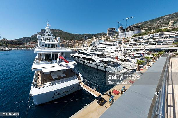 boats at monte carlo marina - monte carlo stock pictures, royalty-free photos & images