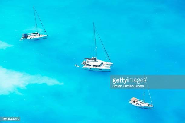 Boats at Navagio beach Zakynthos, Greece, Europe