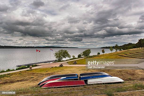 boats at rest, stormy sky - barrie stock pictures, royalty-free photos & images