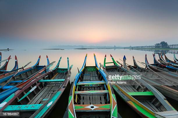 Boats at sunrise, Amarapura, Mandalay
