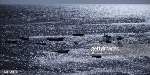 boats at the backlighting sea
