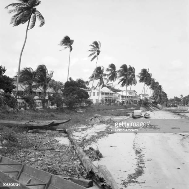 Boats at the beach of Albina Suriname 1966