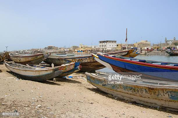 boats by senegal river. saint-louis - dugout canoe stock photos and pictures