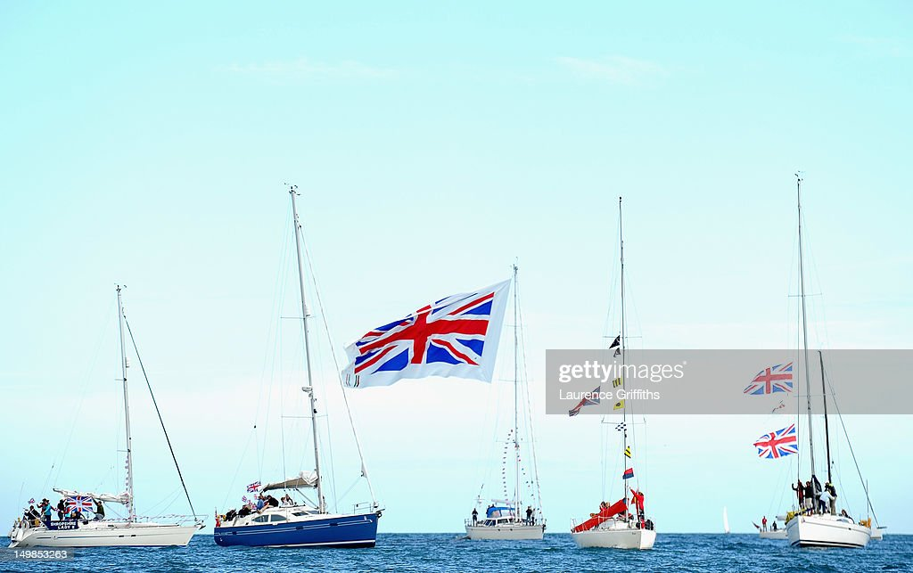 Boats come out to support Team GB in Weymouth Harbour on August 5, 2012 in Weymouth, England.