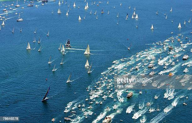 Boats compete out of Sydney Harbour during the start of the 63rd Sydney Hobart Yacht Race on December 26 2007 in Sydney Australia The fleet of boats...