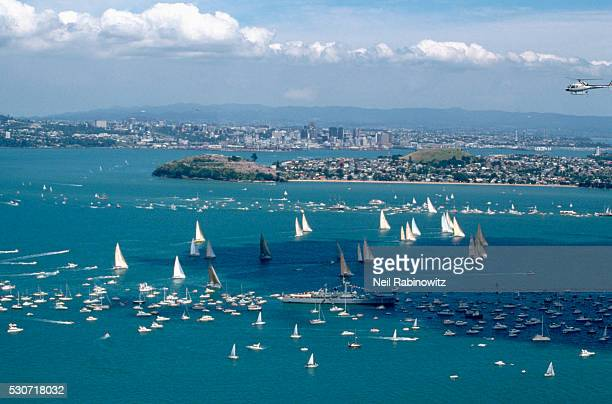 Boats Crowding Auckland Harbor