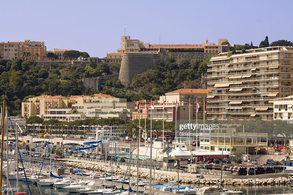 Boats docked at a harbor, Port of Fontvieille, Monte Carlo, Monaco : Stock Photo