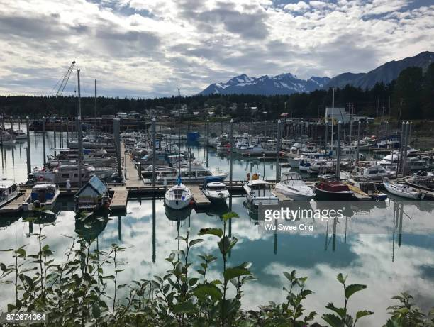 Boats docked at a local pier in Haines