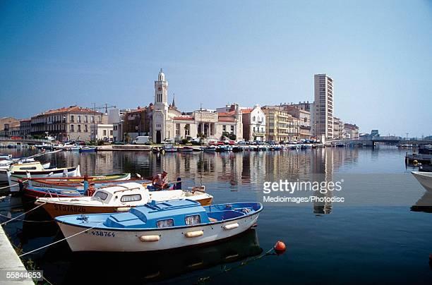 Boats docked at Sete Harbor, Languedoc Roussillion, France