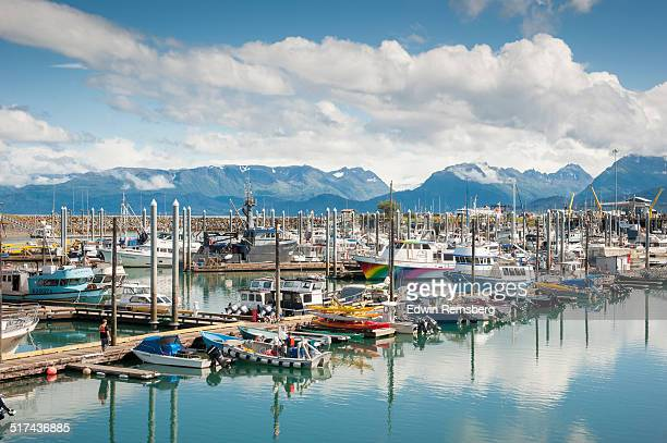 Boats docked in Alaskan water