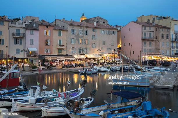 Boats docked in St Tropez marina, Provence, France