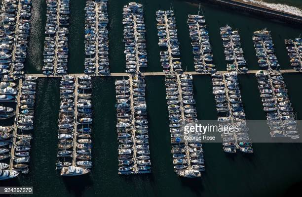 Boats docked in the Marina are viewed in this aerial photo on February 23 in Santa Barbara California A combined series of natural disasters the...