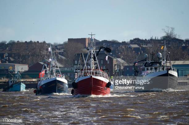 Boats flying probrexit sail the River Tyne during the Fishing For Leave flotilla on March 15 2019 in North Shields United Kingdom Fishing for Leave...