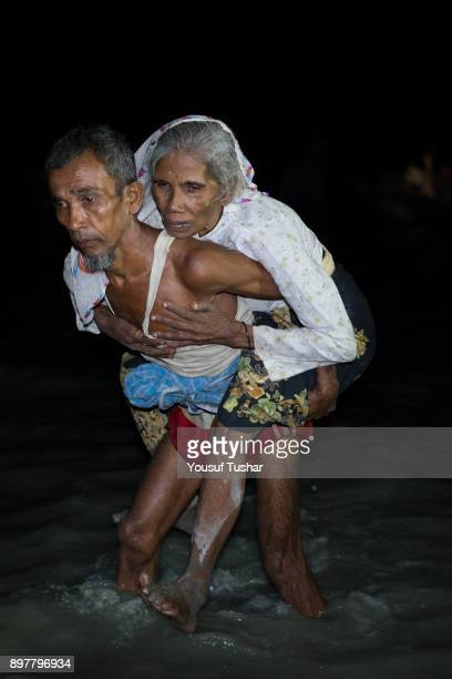 Boats full of people continue to arrive along the shores of the Naf River as Rohingya come in the safety of darkness September 29 2017 on Shah Porir...