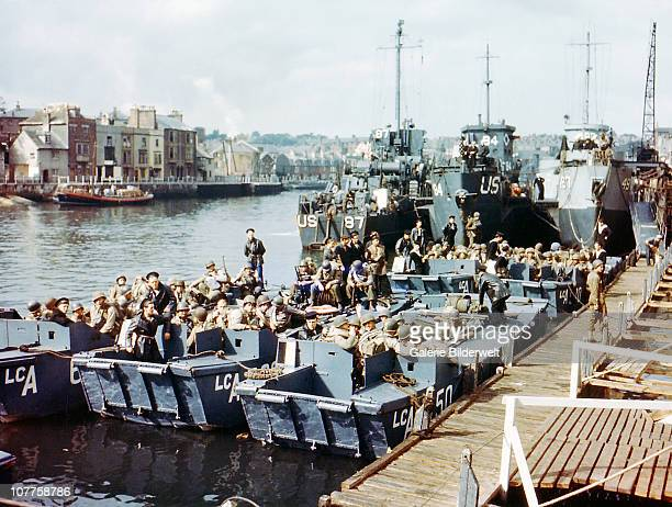 Boats full of United States troops waiting to leave Weymouth Southern England to take part in Operation Overlord in Normandy June 1944 This location...