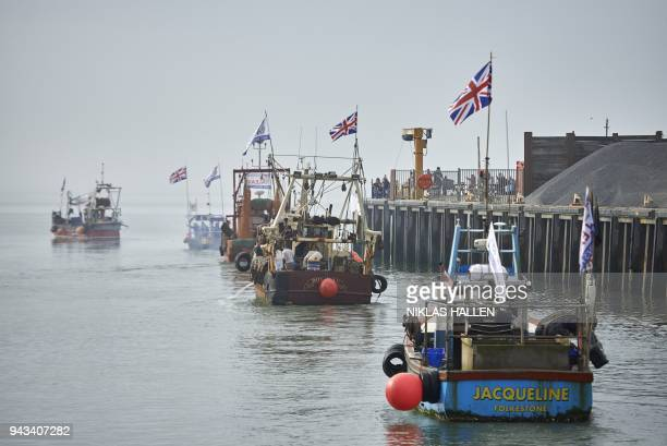 Boats gather in the harbour during a demonstration in Whitstable southeast England on April 8 2018 against the Brexit transition deal that would see...