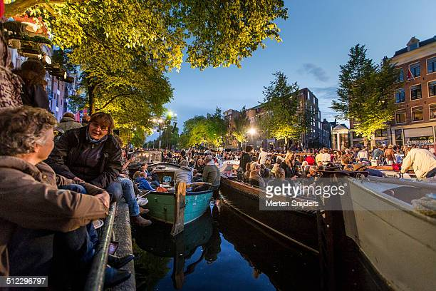 Boats gathered for Prinsengracht Concert 2014
