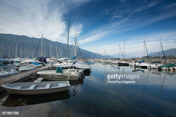 Boats harboured on the edge of Lake Bourget at AixlesBains in eastern France taken on October 12 2016
