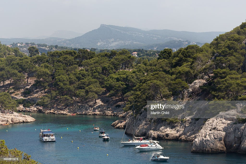 Boats in a Calanque near Cassis : Stock Photo