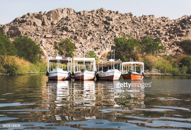 Boats in a row. Nile river